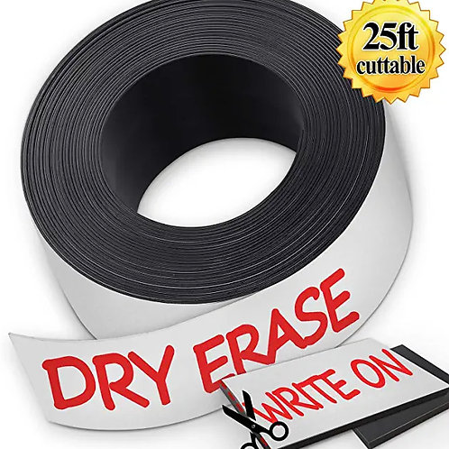 Gimars Dry Erase Flexible Magnetic Strip - 1 Inch x 25 Feet Write On Magnets Tap