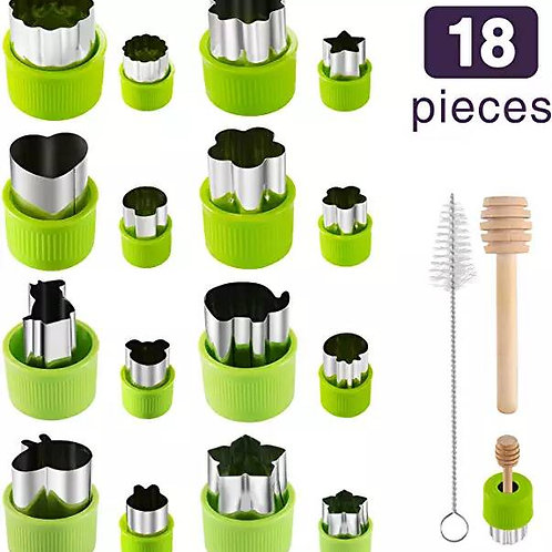 Gimars 18 Pcs Large + Mini Fruit & Vegetable & Cookie Cutters Shapes Sets, Stain