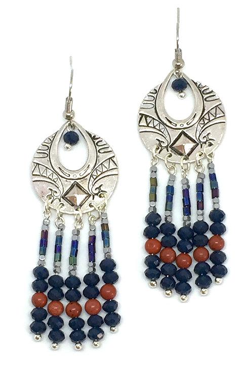 Boucles d'oreilles Cléopâtre Argenté & Bleu cobalt