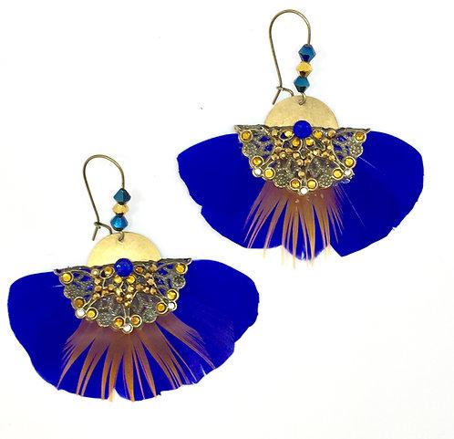 """Boucles d'oreilles ethnique plumes Butterfly """"Bleu Majorel"""""""