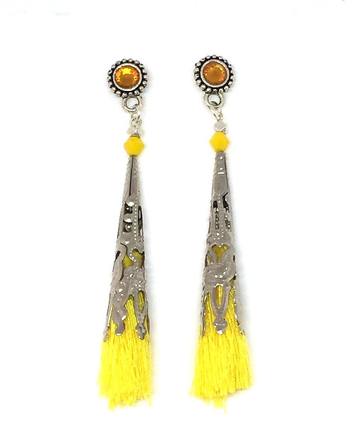 Boucles d'oreilles ethnique pom-pom cône argent & jaune citron