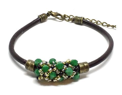 "Bracelet "" Spirale russe"" Vert & Marron foncé"
