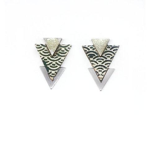 Bo Clou d'oreille triangle imprimé kaki & argenté