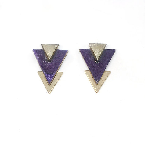 Bo Clou d'oreille triangle violet & doré