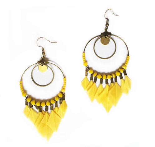 Boucles d'oreilles attrape-rêve en plumes jaune soleil