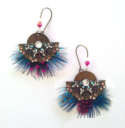 Boucles d'oreilles Butterfly Blanche rose et bleu