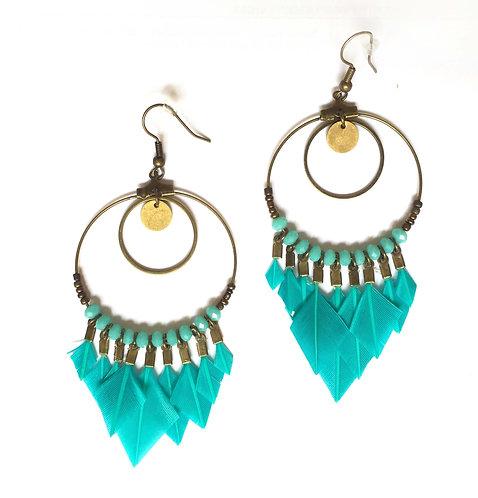 Boucles d'oreilles attrape-rêve  turquoise