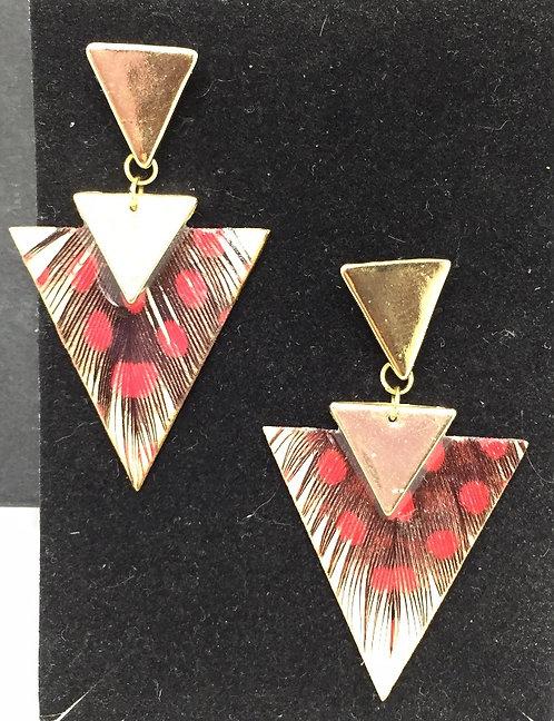 Boucles d'oreille ethnique triangle rouge