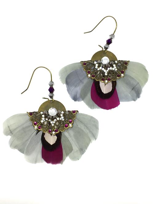 """Boucles d'oreilles """"Butterfly"""" Gris, noir & Fushia"""