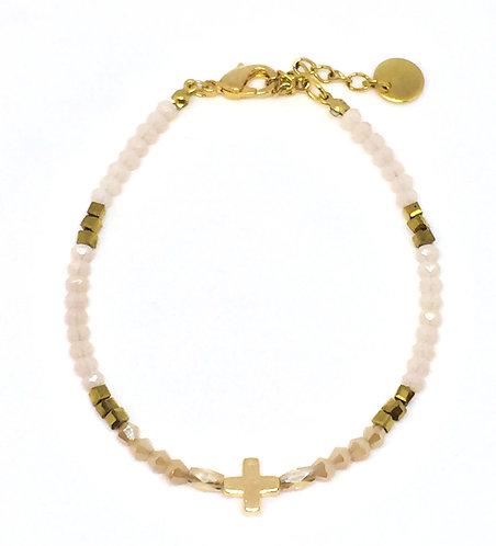 Bracelet croix perles de verre nude/ gold
