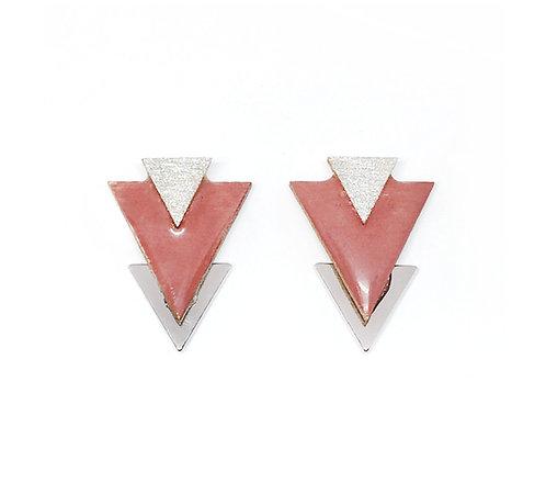 Bo Clou d'oreille triangle vieux rose & argenté