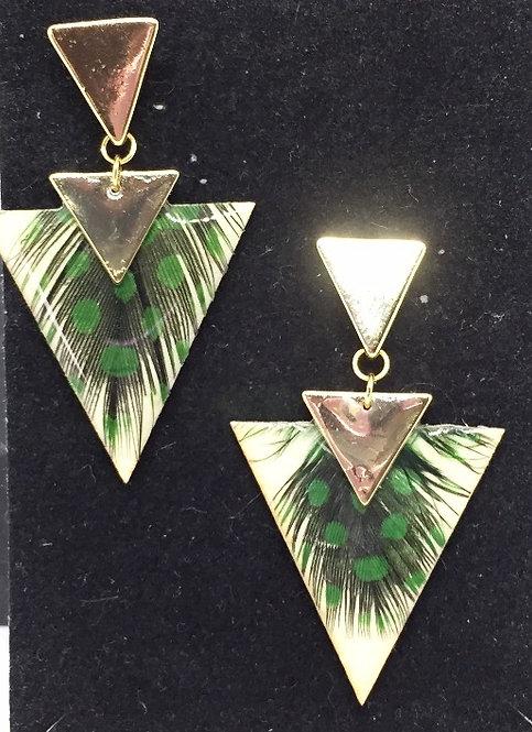 Boucles d'oreille ethnique triangle verte
