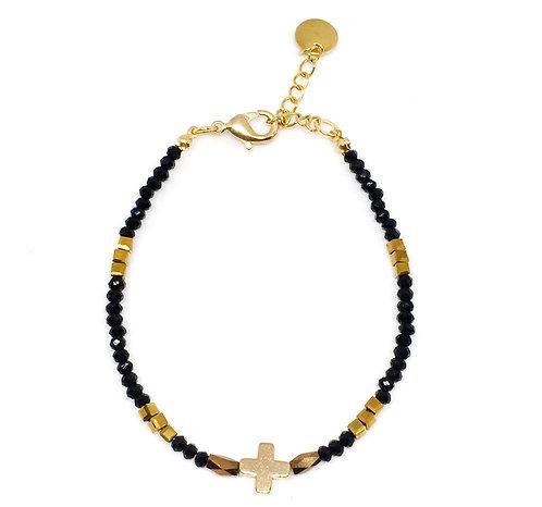 Bracelet croix perles de verre noir /doré