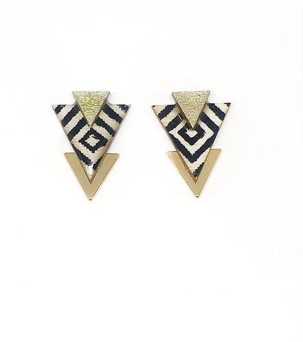 Bo Clou d'oreille triangle imprimé ethnique & doré