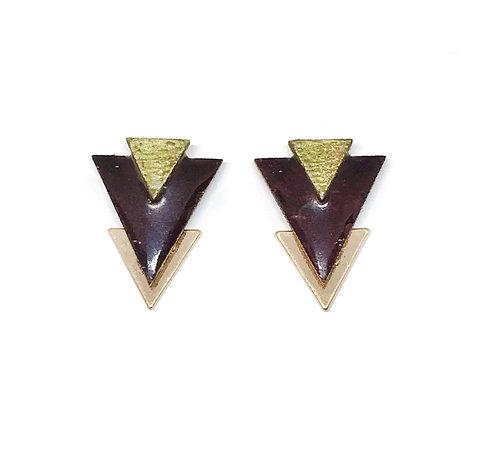 Bo Clou d'oreille triangle marron & doré
