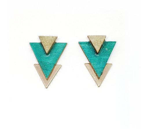 Bo Clou d'oreille triangle vert d'eau & doré