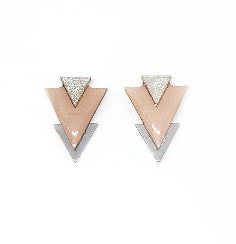 Bo Clou d'oreille triangle nude & argenté