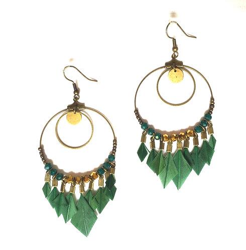 Boucles d'oreilles attrape-rêve en plumes vert tropical