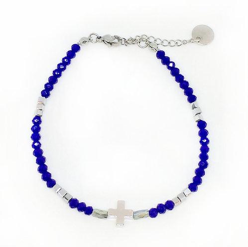Bracelet croix & perles de verre bleu éléctrique/sliver