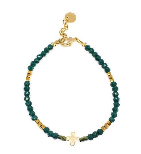 Bracelet croix perles de verre vert /doré