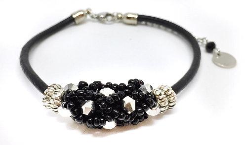 "Bracelet "" Spirale russe"" Noir & Argent"