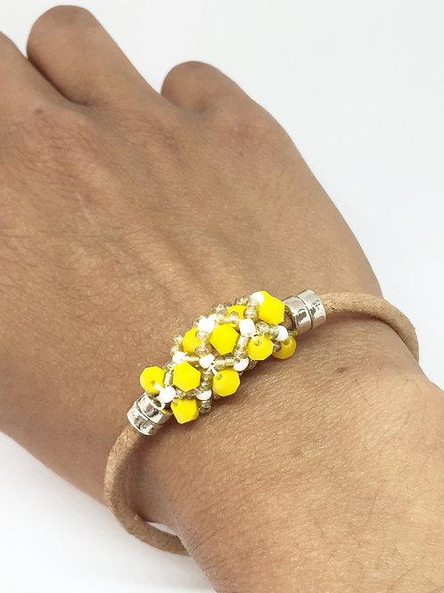"Bracelet "" Spirale russe"" ethnique Blanc & jaune solaire"