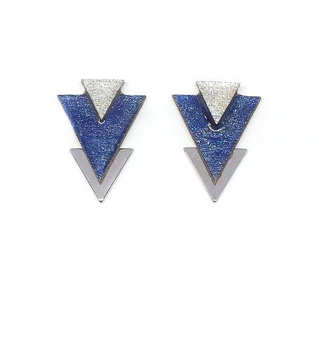 Bo Clou d'oreille triangle bleu jean & argenté