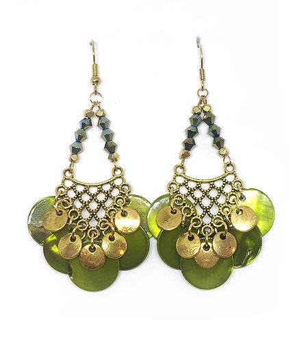 Bo chandelier doré & vert olive