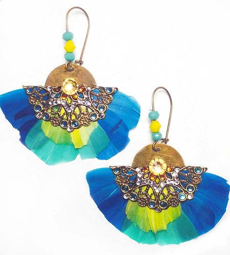 Boucles d'oreilles Butterfly lagon Bleu
