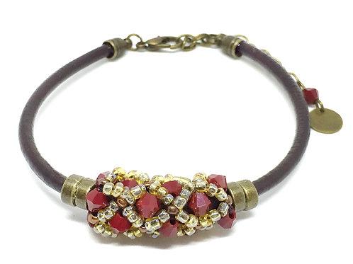 """Bracelet """" Spirale russe"""" Rouge & Marron foncé"""