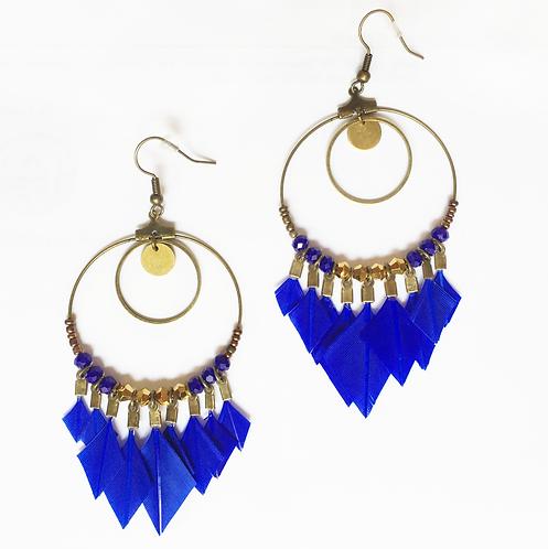 Boucles d'oreilles attrape-rêve en plumes bleu majoral