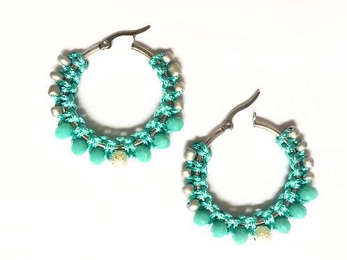 Créole macramé turquoise & argenté