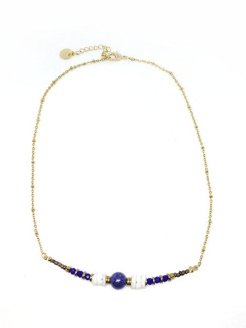 Ras de cou cléo lapis lazuli & doré