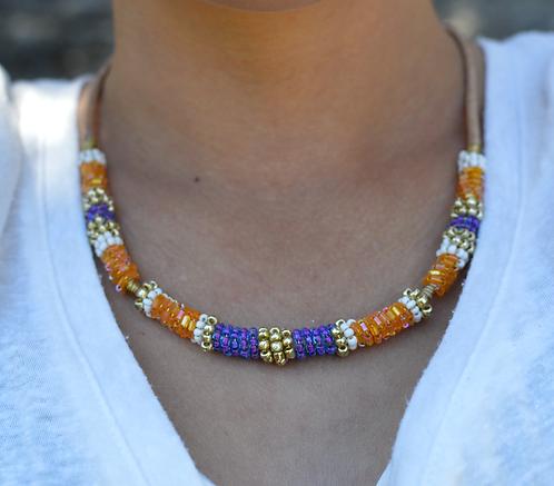 Ras de cou Africa Queen orange, violet et blanc