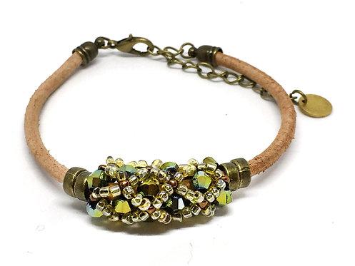 "Bracelet "" Spirale russe"" Vert & Beige"