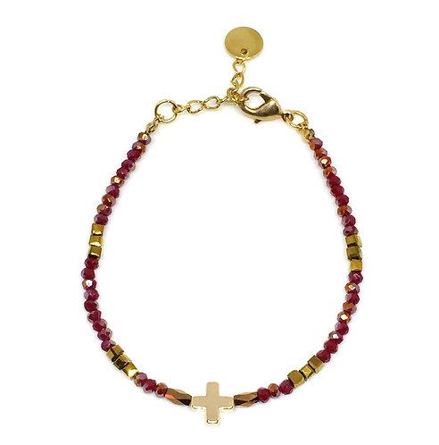 Bracelet croix perles de verre rouge/doré