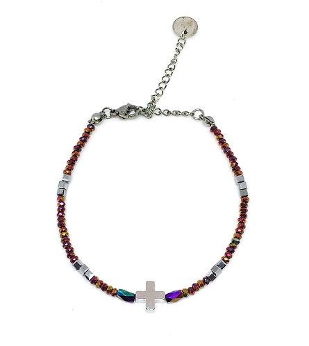 Bracelet croix perles de verre caméléon rose/ argenté/doré
