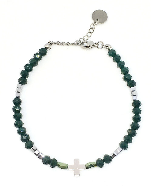 Bracelet croix perles de verre vert/ silver