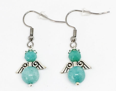 Boucle d'oreille ange turquoise