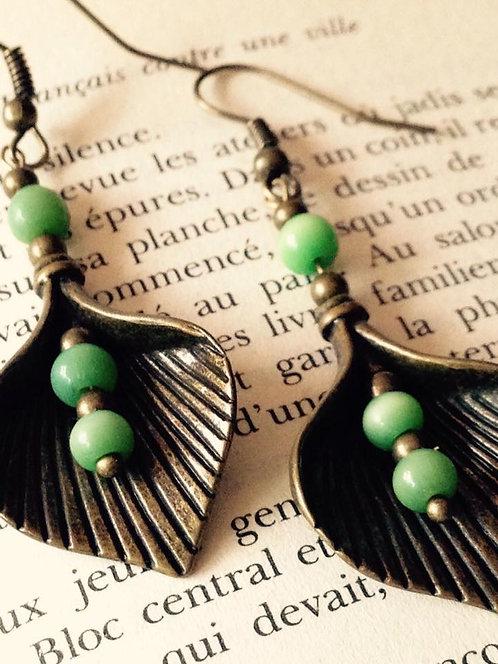 """Boucles d'oreilles """"Feuilles"""" Bronze & Vert"""