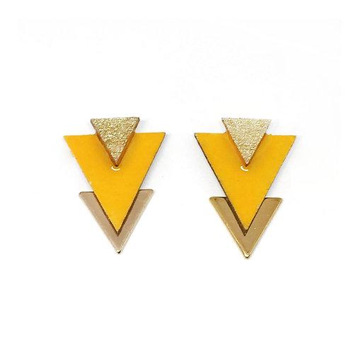 Bo Clou d'oreille triangle jaune & doré