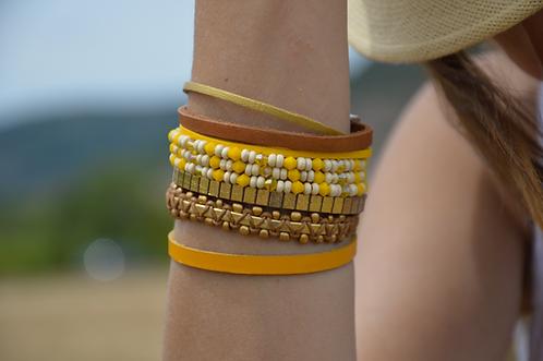 Bracelet Multi-rangs jaune solaire