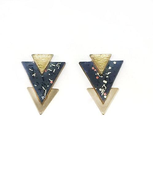 Bo Clou d'oreille triangle imprimé gris & doré