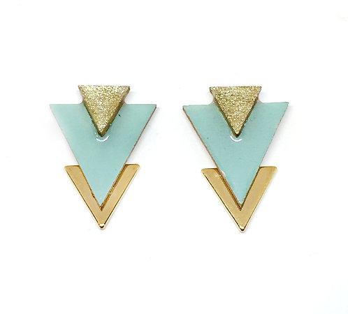 Bo Clou d'oreille triangle bleu clair & doré