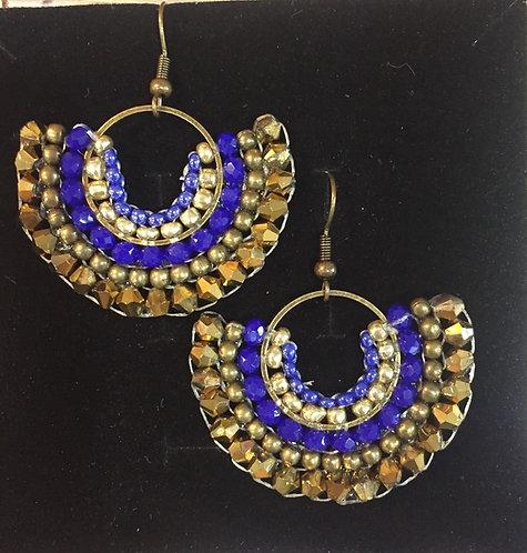 """Boucles d'oreilles tissé demi-lune inca """" blue & gold"""""""