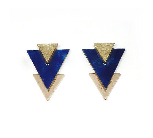 Bo Clou d'oreille triangle bleu nuit & doré