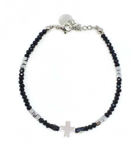 Bracelet croix & perles de verre noir /argenté