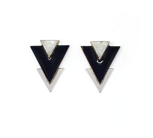 Bo Clou d'oreille triangle noire & argenté