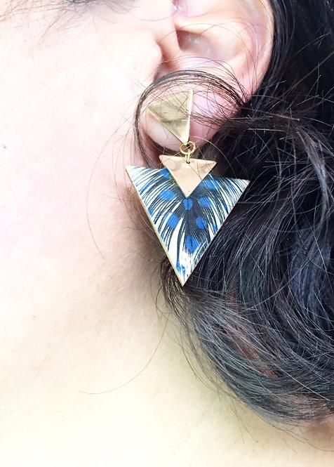 Boucles d'oreille ethnique triangle bleu nuit