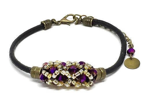"""Bracelet """" Spirale russe"""" Violet & Marron foncé"""